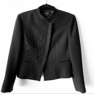 Kasper Black Floral Embroidered Petite Blazer